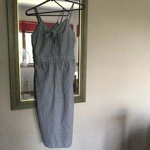 Midi Striped Dress With Bow & Peep Hole